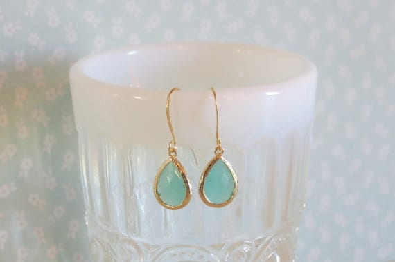 Mint glass earrings, Kylie Bryn Designs