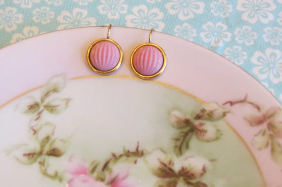 Shabby Chic pink glass cabochon earrings, Kylie Bryn Designs