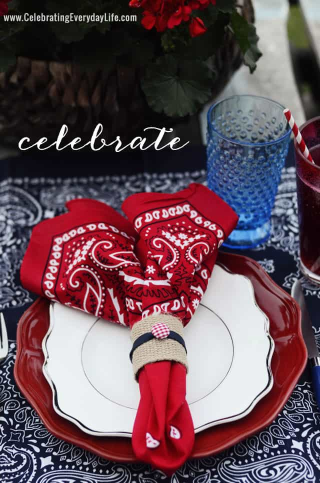 Summer Entertaining, Bandana Placesetting Inspiration by Celebrating Everyday Life