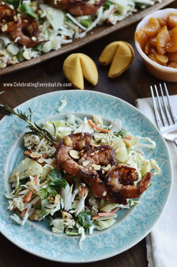 Asian Salad Recipe with Grilled Shrimp on Rosemary Skewers ...