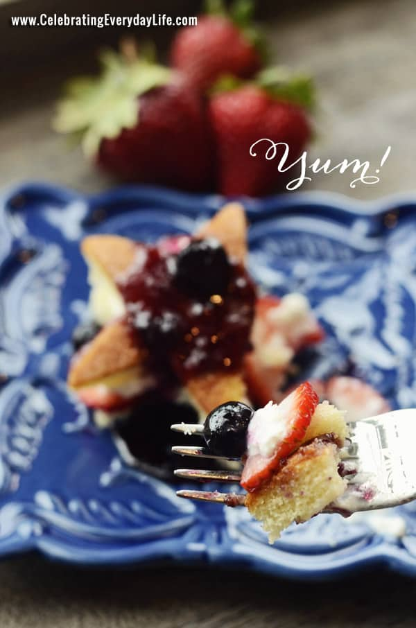 Strawberry Shortcake with Wild Blueberry Sauce, CelebratingEverydayLife.com, Red White and Blue Dessert, Memorial Day Dessert, 4th of July Dessert, July 4th Dessert