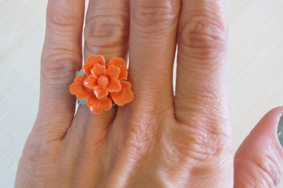 Tangerine Sakura Ring, Kylie Bryn Designs