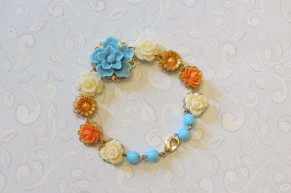 Vintage inspired flower bracelet from Kylie Bryn Designs
