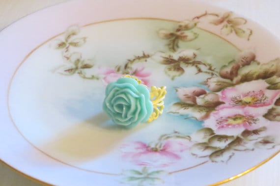 Pastel ruffle rose flower ring, Kylie Bryn Designs
