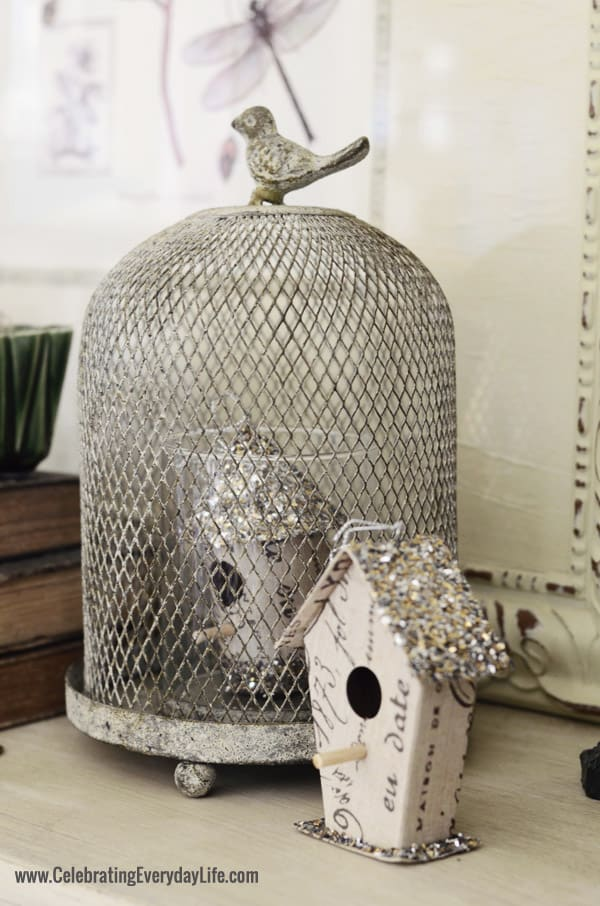 Bird House ornaments, wired cloche, Celebrating Everyday Life blog