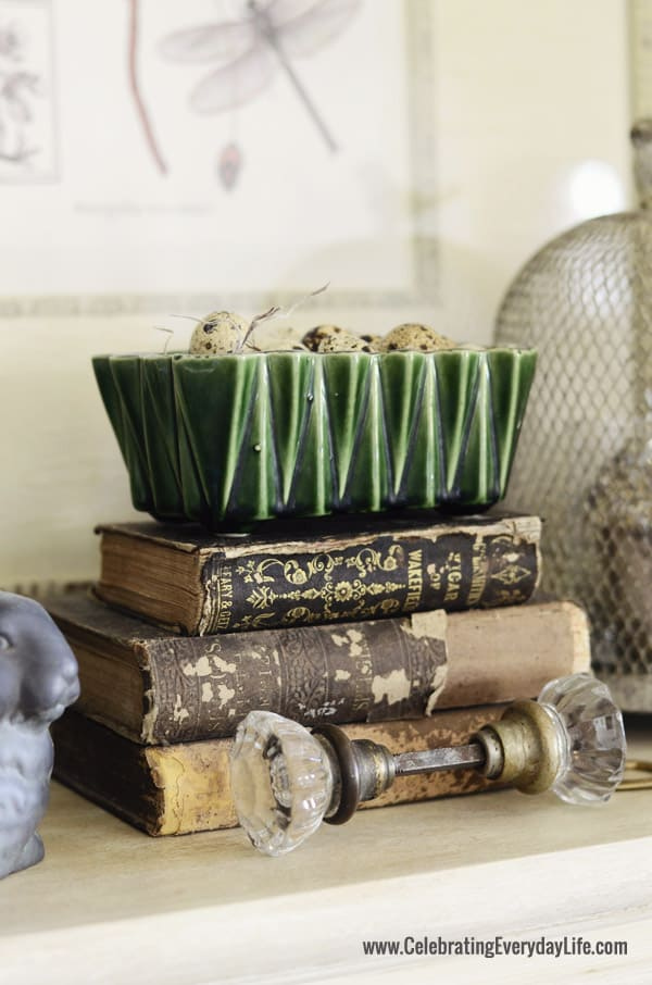 Antique books, majolica planter, quail eggs, vintage doorknob, Celebrating Everyday Life blog