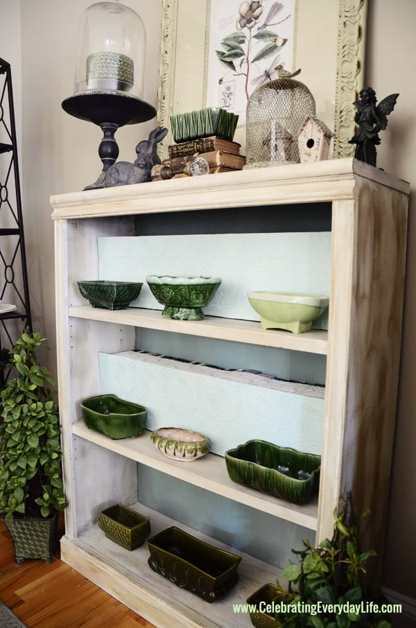 How to hide DVDs on a bookshelf {Decorating DIY} from Celebrating Everyday Life blog, Green Majolica planters