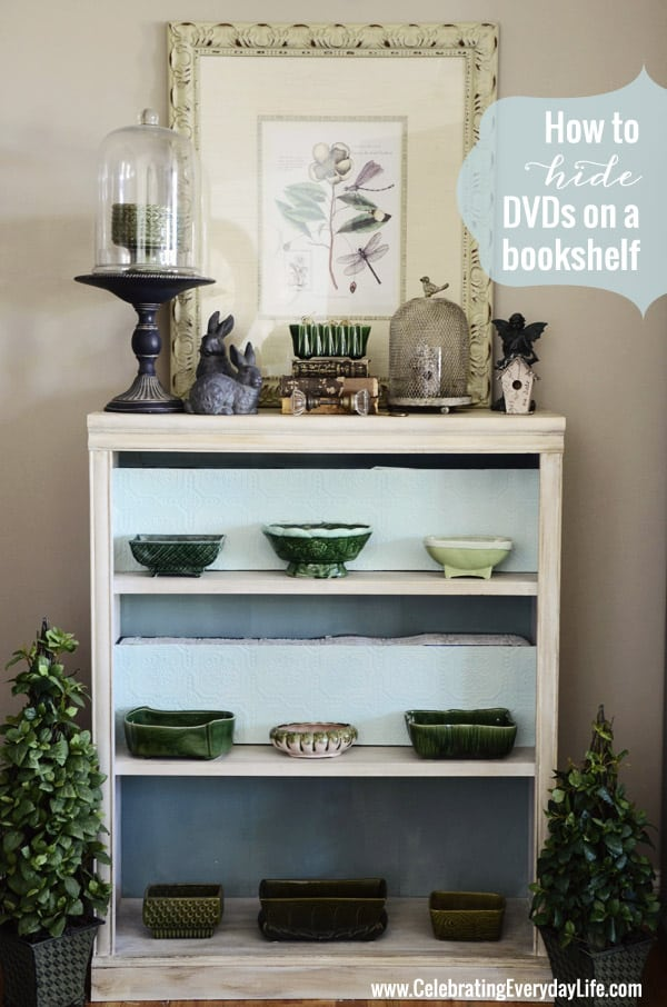 How to hide DVDs on a bookshelf {Decorating DIY} from Celebrating Everyday Life blog
