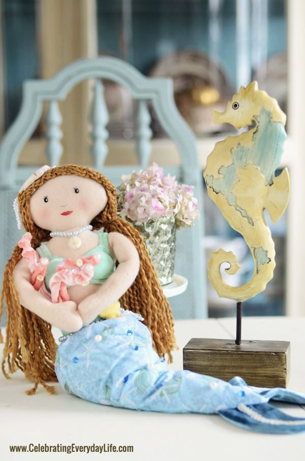 Mermaid doll from Cracker Barrel, Seahorse figure from Michaels Craft Store, Celebrating Everyday Life blog, Seahorse decor