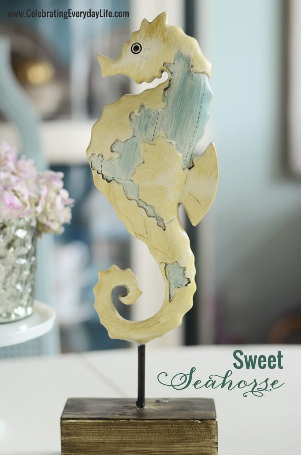Seahorse figure from Michaels Craft Store, Celebrating Everyday Life blog, Seahorse decor
