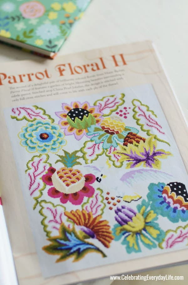 Parrot Floral II pattern from Marie Barber, Just CrossStitch magazine