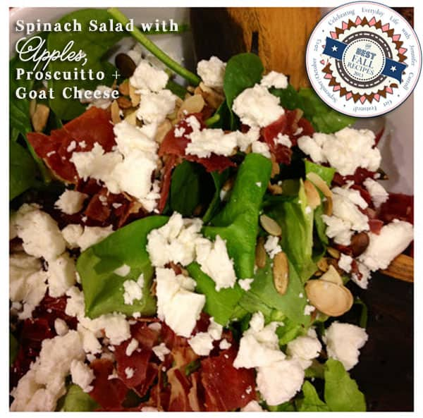 Spinach Salad with Apples, Proscuitto and Goat Cheese