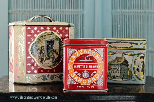 Vintage tins for garden bouquets