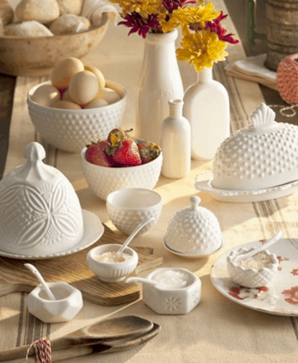 White milk glass farmhouse Dishes, bomisch