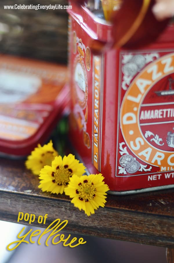 Yellow Coreopsis, old tin, Celebrating Everyday Life blog