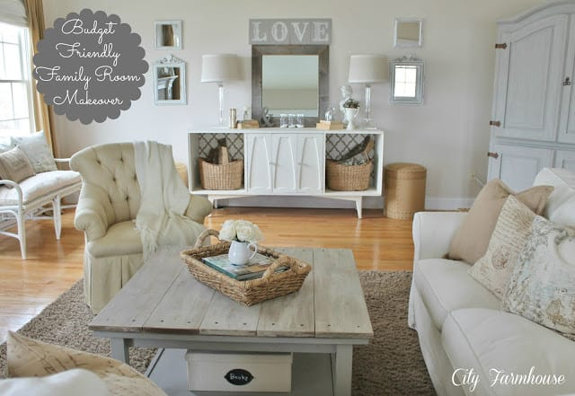 Family Room Makeover on City Farmhouse blog