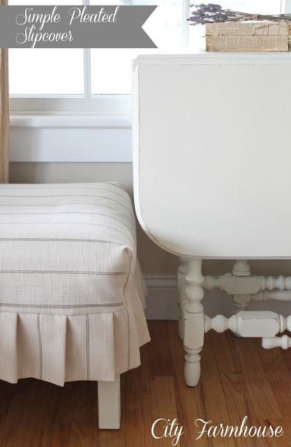 Simple Pleated Slipcover for an Ottoman tutorial from City Farmhouse blog