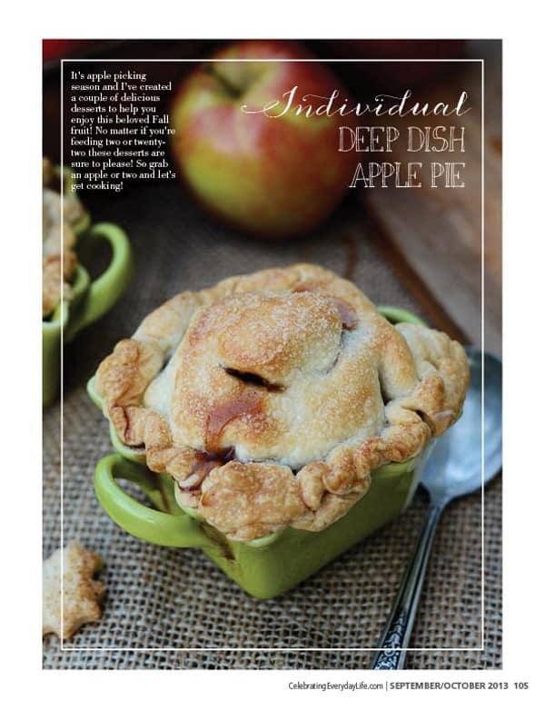 Individual Deep Dish Apple Pie, Celebrating Everyday Life blog