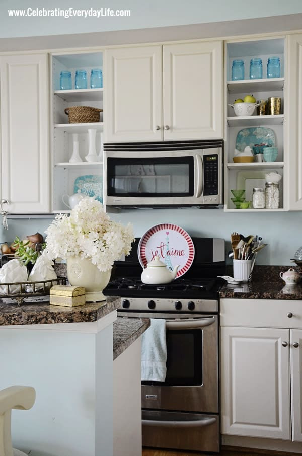 Turquoise and White Kitchen from Celebrating Everyday Life with Jennifer Carroll