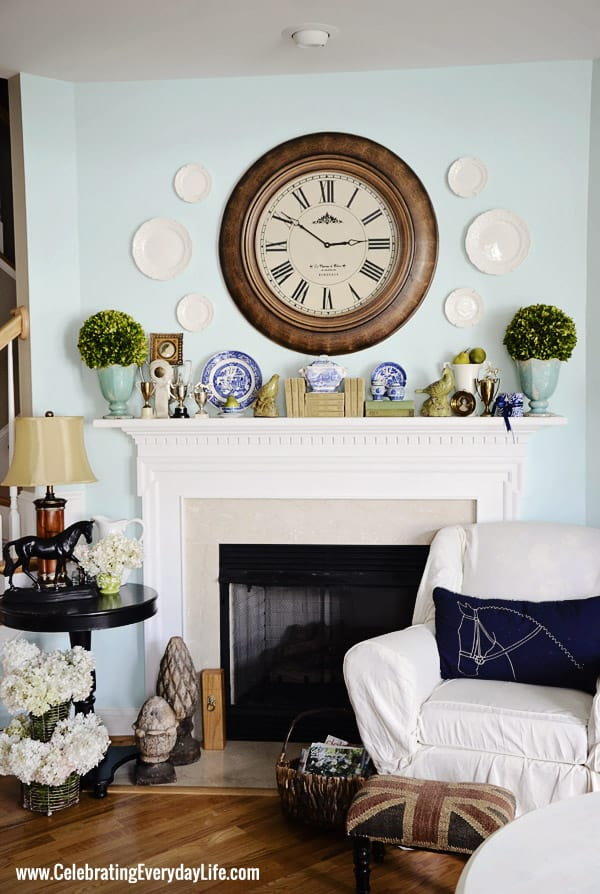 Fireplace in my Turquoise and White Kitchen from Celebrating Everyday Life with Jennifer Carroll
