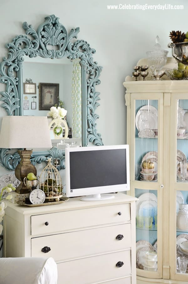 Ornate mirror in my Turquoise and White Kitchen from Celebrating Everyday Life with Jennifer Carroll