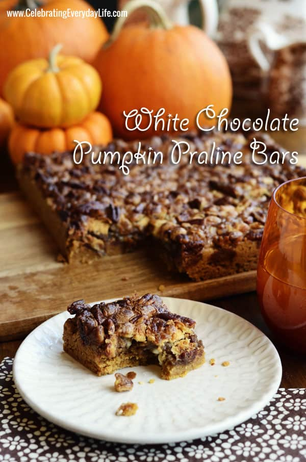 White Chocolate Pumpkin Praline Bars recipe, Autumn cookie recipe, Fall Cookie Recipe, Fall Dessert Recipe, Fall Treat
