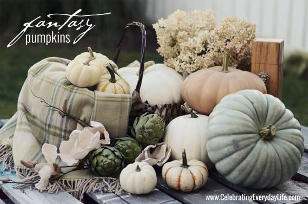 Fantasy Pumpkins, White Pumpkins, Pastel Pumpkins, Blue Pumpkin, mini pumpkins, Celebrating Everyday Life with Jennifer Carroll