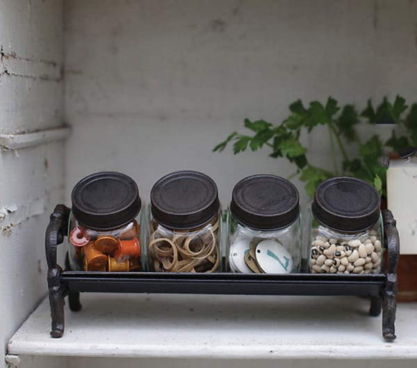 French Country Jar Organizer with Cast Iron Rack, Farmhouse Wares