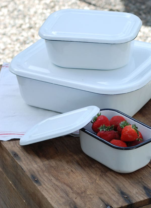 Vintage Style Enamel Food Storage Containers, Farmhouse Wares