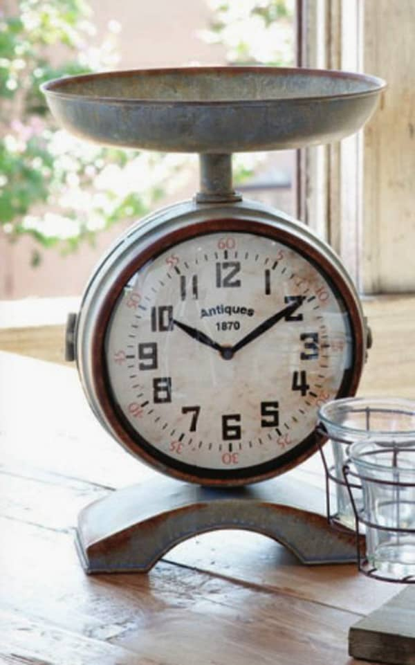 Vintage Style Scale Clock, Farmhouse Wares