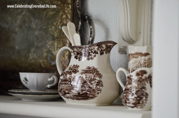 Brown Transferware Pitchers, Open Shelves, Kitchen Makeover, White and Turquoise kitchen, Celebrating Everyday Life with Jennifer Carroll