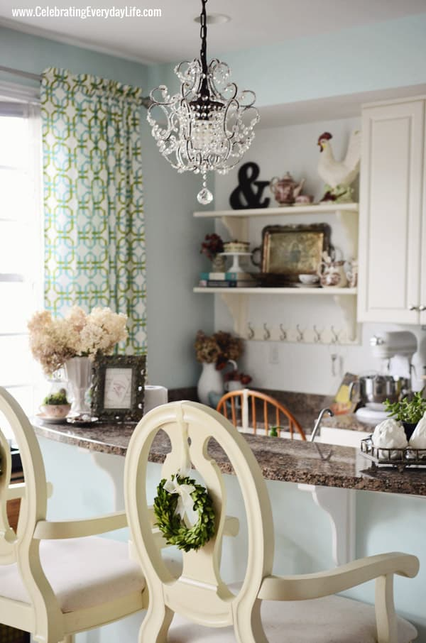 Mini Crystal Chandelier, Open Shelves, Kitchen Makeover, White and Turquoise kitchen, Celebrating Everyday Life with Jennifer Carroll