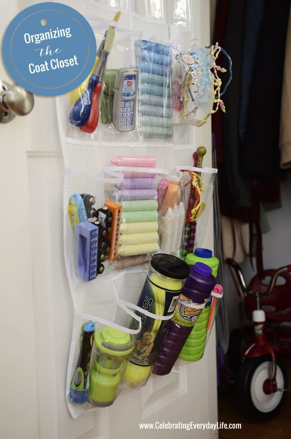 Over the Door Toy Storage, Organize the Coat Closet, Celebrating Everyday Life with Jennifer Carroll, Organize your home, Organizing Before and After