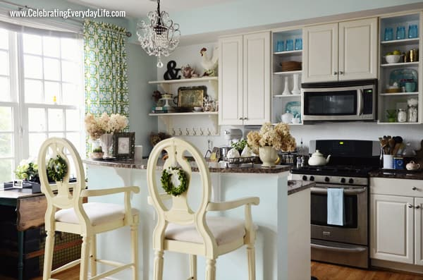 Kitchen Makeover, White and Turquoise kitchen, Celebrating Everyday Life with Jennifer Carroll