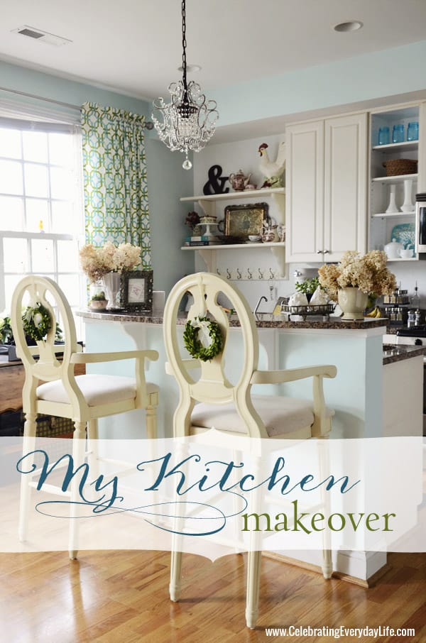 Budget Kitchen Makeover, White and Turquoise kitchen, Celebrating Everyday Life with Jennifer Carroll