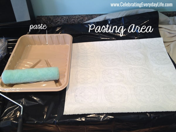 Pasting Area, How to Hang Wallpaper tutorial, Celebrating Everyday Life with Jennifer Carroll