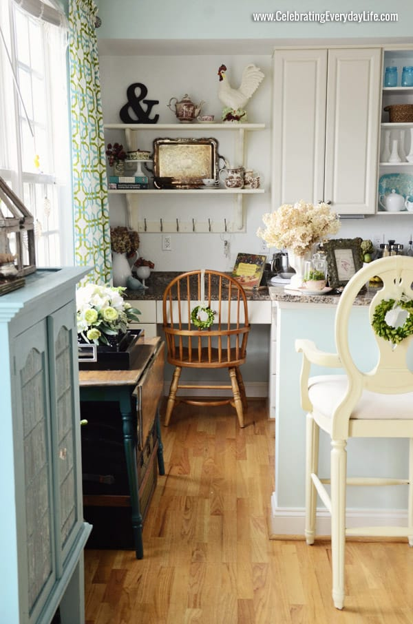 Open Shelves, Kitchen Makeover, White and Turquoise kitchen, Celebrating Everyday Life with Jennifer Carroll