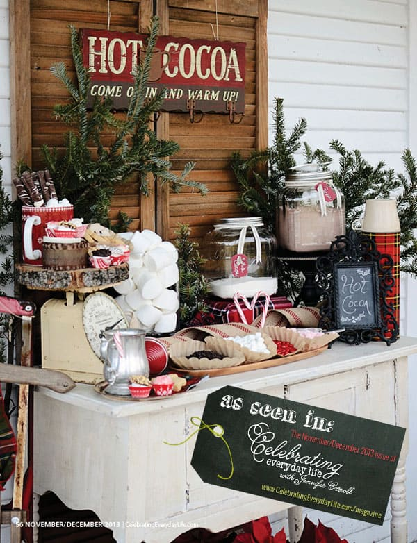 Hot Cocoa Party Ideas from Celebrating Everyday Life with Jennifer Carroll November December 2013