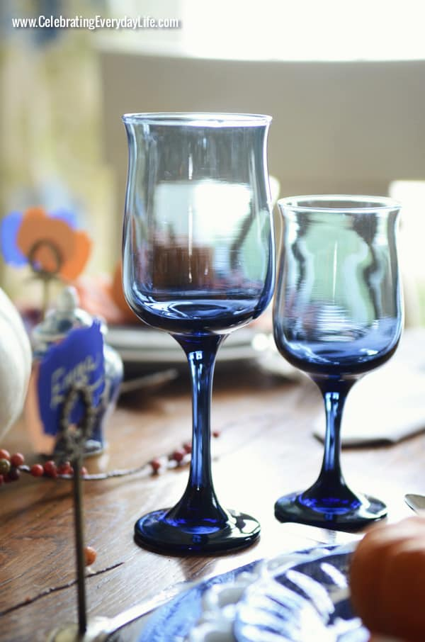 Blue Wine Glasses, A Blue Willow Thanksgiving Tablescape, Blue and White Thanksgiving Table, Blue and White place setting, Blue, White and Orange Thanksgiving Table, Celebrating Everyday Life with Jennifer Carroll
