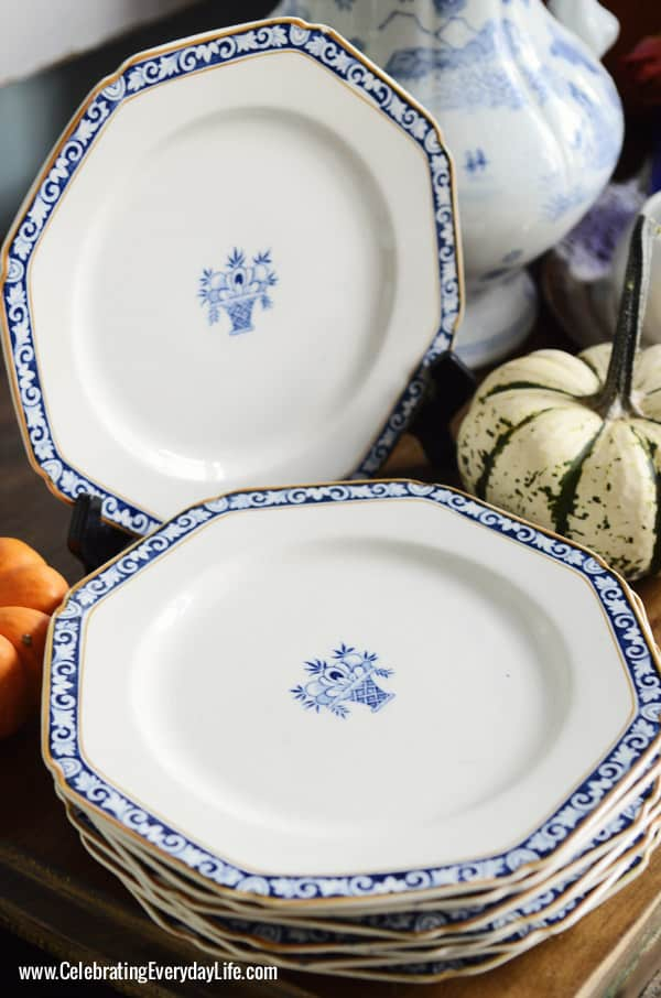 Stuart Woods Ware Plates, Wood & Sons of England, Buffet with bittersweet, pumpkins, blue & white china, A Blue Willow Thanksgiving Tablescape, Blue and White Thanksgiving Table, Blue and White place setting, Blue, White and Orange Thanksgiving Table, Celebrating Everyday Life with Jennifer Carroll
