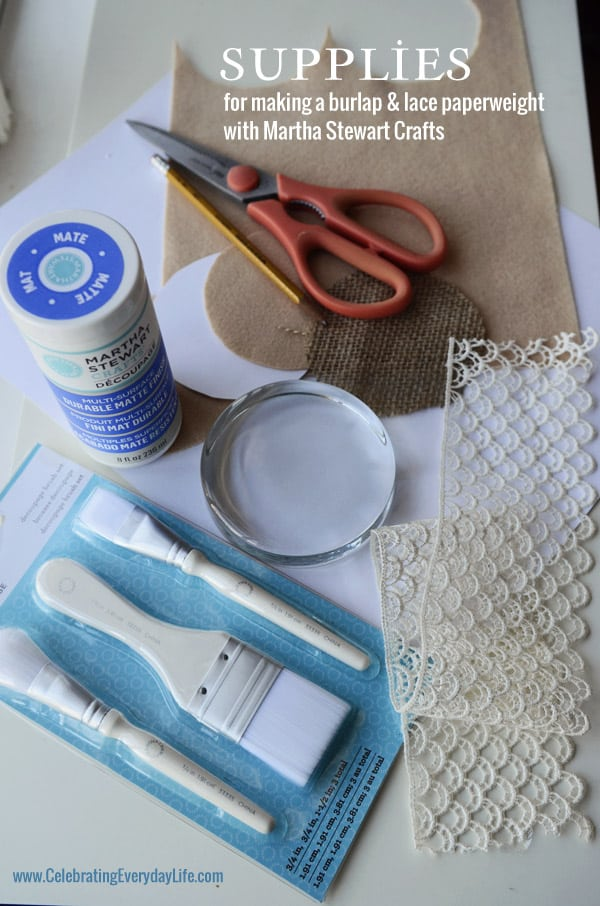 Supplies for Burlap and Lace Paperweight, Martha Stewart Crafts, Homemade Gift Idea, Celebrating Everyday Life with Jennifer Carroll