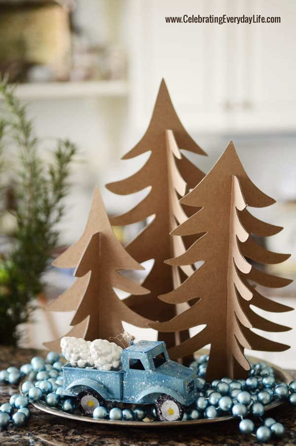 Blue Paper Truck, Kraft Chipboard Trees, Turquoise beaded garland, Celebrating Everyday Life with Jennifer Carroll