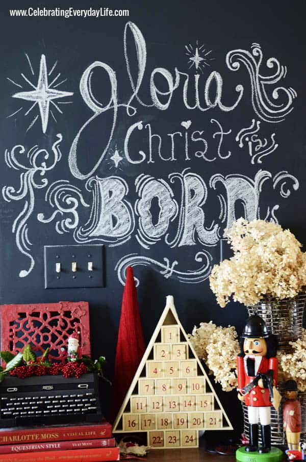 Chalkboard Wall with Christmas Chalk art, Celebrating Everyday Life with Jennifer Carroll