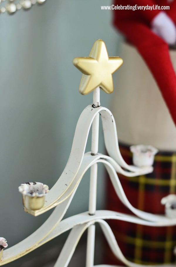 Gold Star, white metal christmas tree, Celebrating Everyday Life with Jennifer Carroll