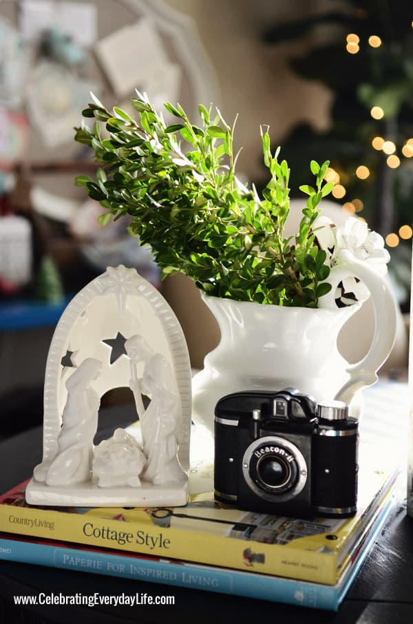 Nativity candle with antique camera, Celebrating Everyday Life with Jennifer Carroll