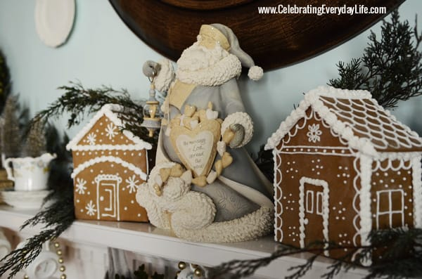 Blue and White Santa and Gingerbread Houses, Celebrating Everyday Life with Jennifer Carroll