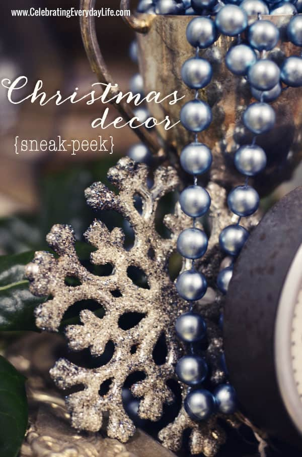 Christmas Decor sneak peek, glitter Snowflake, turquoise bead garland, Celebrating Everyday Life with Jennifer Carroll