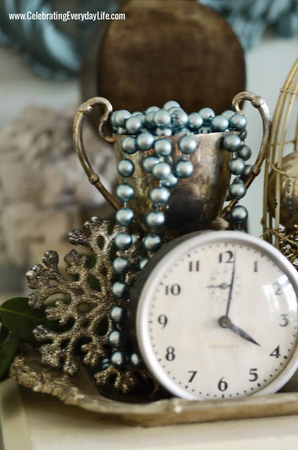glitter Snowflake, turquoise Beads, vintage clock, vintage silver trophy, Celebrating Everyday Life with Jennifer Carroll