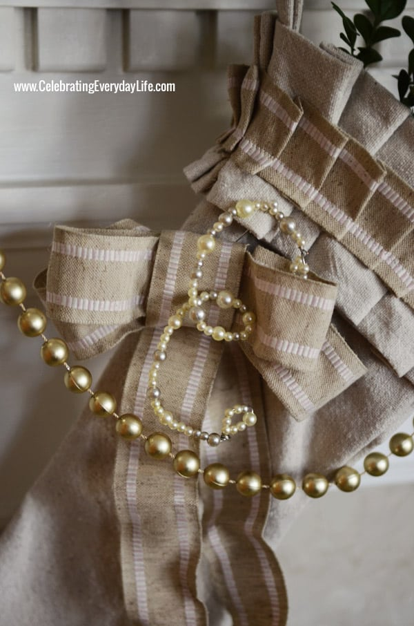 Dropcloth Stocking, with Pearl Letter Tag, Celebrating Everyday Life with Jennifer Carroll