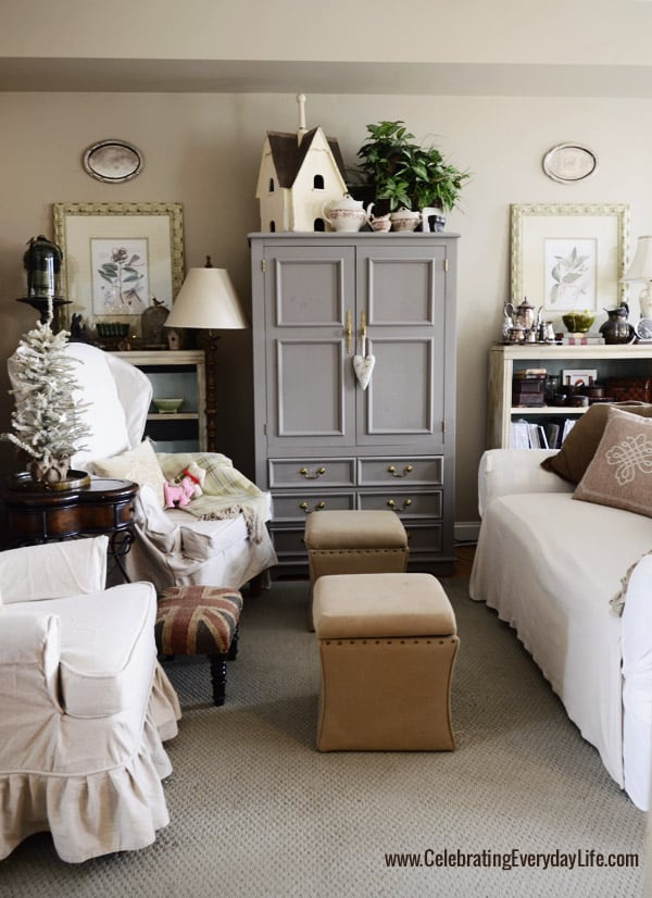 Annie Sloan Chalk Paint French Linen TV cabinet, Drop Cloth Slipcovers, Christmas in the living room, Celebrating Everyday Life with Jennifer Carroll
